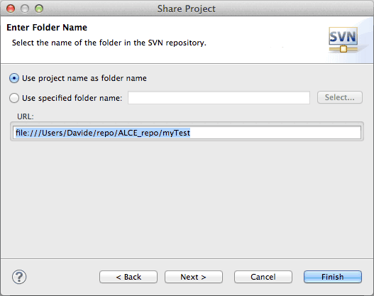 Share Project - select name