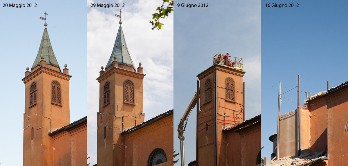 Caselle di Crevalcore - campanile dopo il terremoto