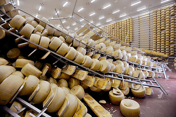 Parmigiano Reggiano seasoning warehouse