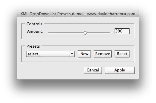 XML DropDownList Preset demo