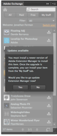 Adobe Extension Manager CC and Exchange issues | Davide