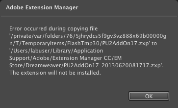 Adobe Extension Manager CC Error