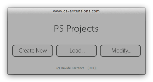 PS Projects - Main Dialog