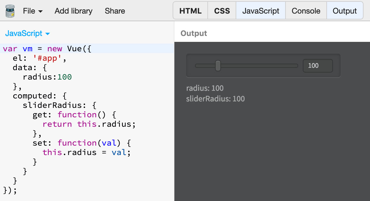 Vue js – Nonlinear Sliders with Computed Properties | Davide