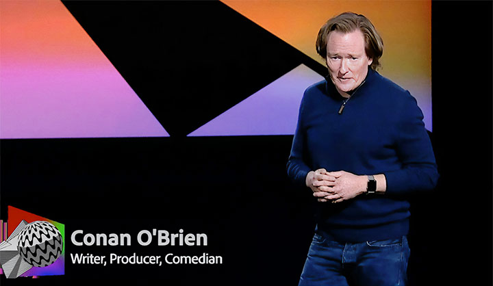 Conan O'Brien on-stage at MAX 2020